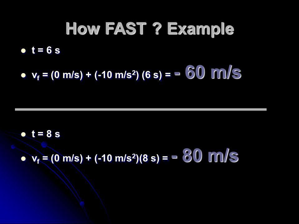 How FAST Example t = 6 s vf = (0 m/s) + (-10 m/s2) (6 s) = - 60 m/s