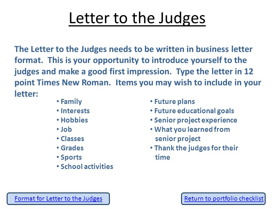 Senior project portfolio ppt video online download letter to the judges expocarfo Images