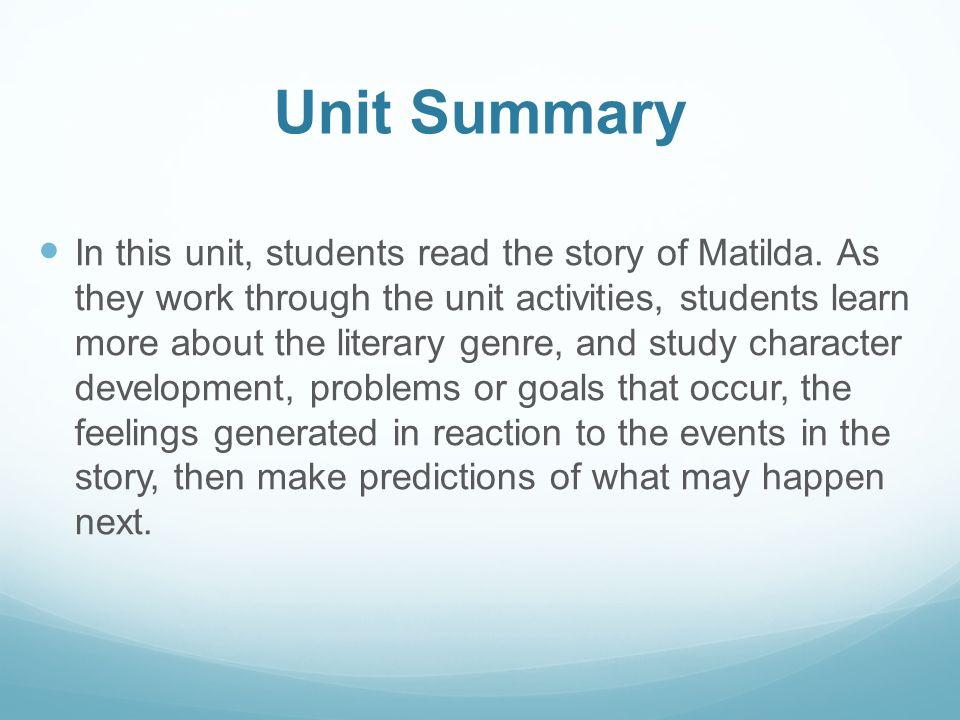 Matilda Unit Plan Unit Title Matilda Brain Power Ppt Video