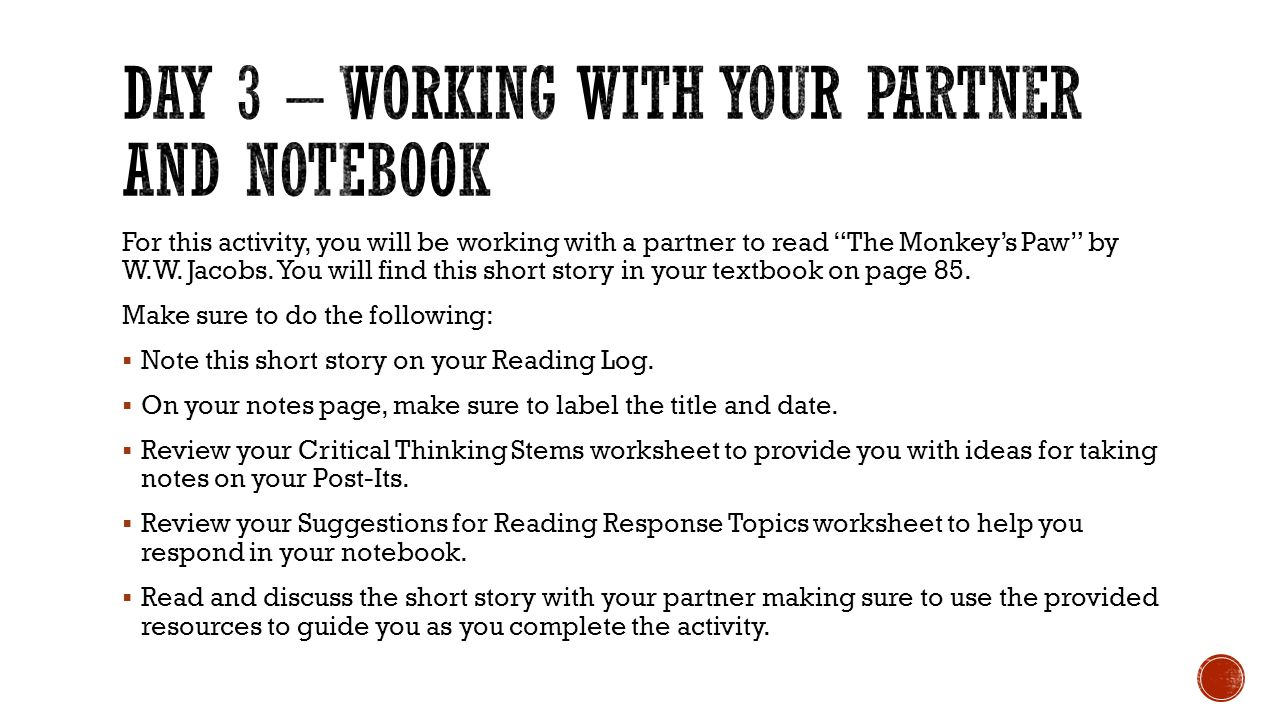 Day 3 – working with your partner and notebook