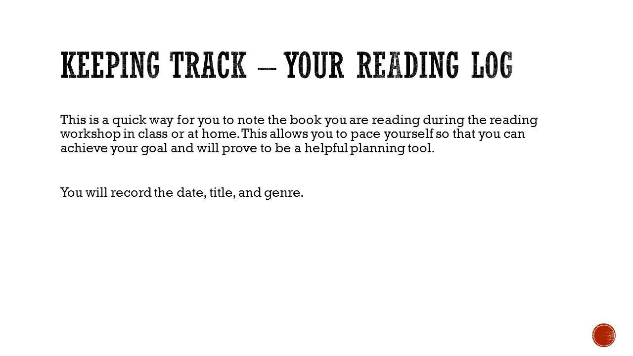 Keeping track – Your Reading Log