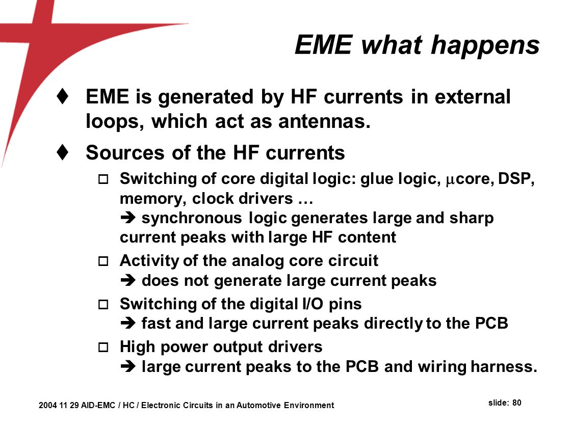 Automotive Environment Herman Casier Ami Semiconductor Belgium Ppt Ignition Basics Analog Vs Digital Circuitry And What It Means Eme Happens Is Generated By Hf Currents In External Loops Which Act As