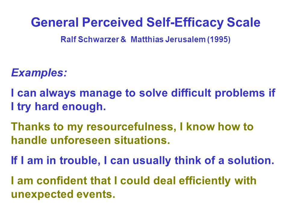 General Perceived Self-Efficacy Scale