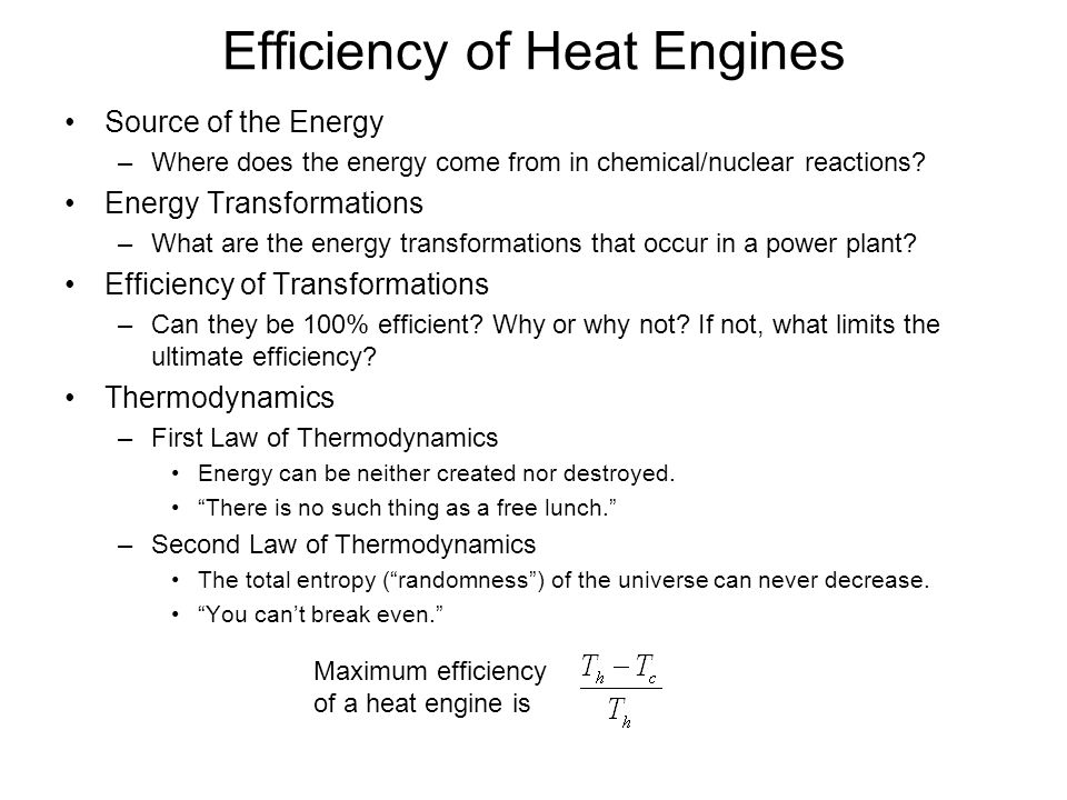 Efficiency of Heat Engines