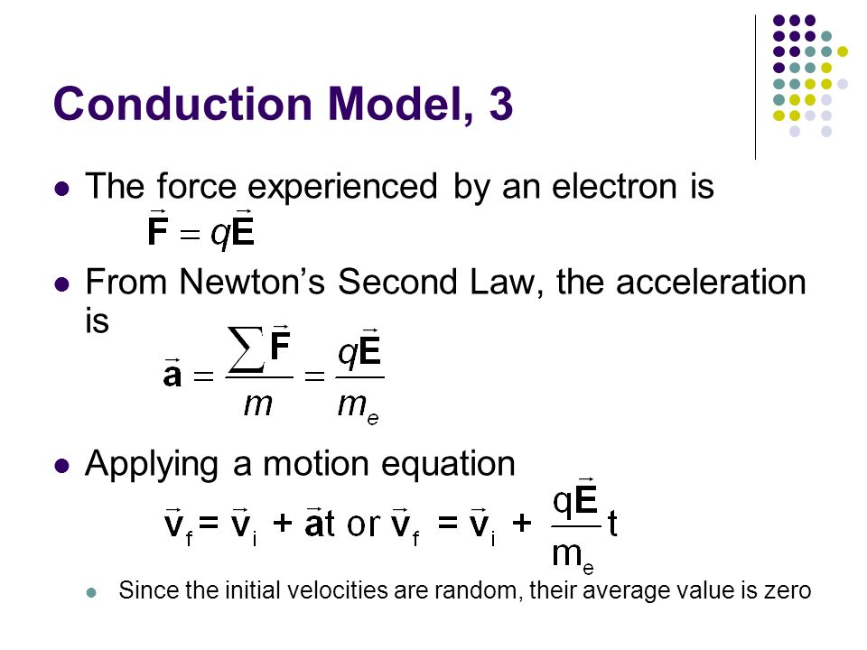 Conduction Model, 3 The force experienced by an electron is