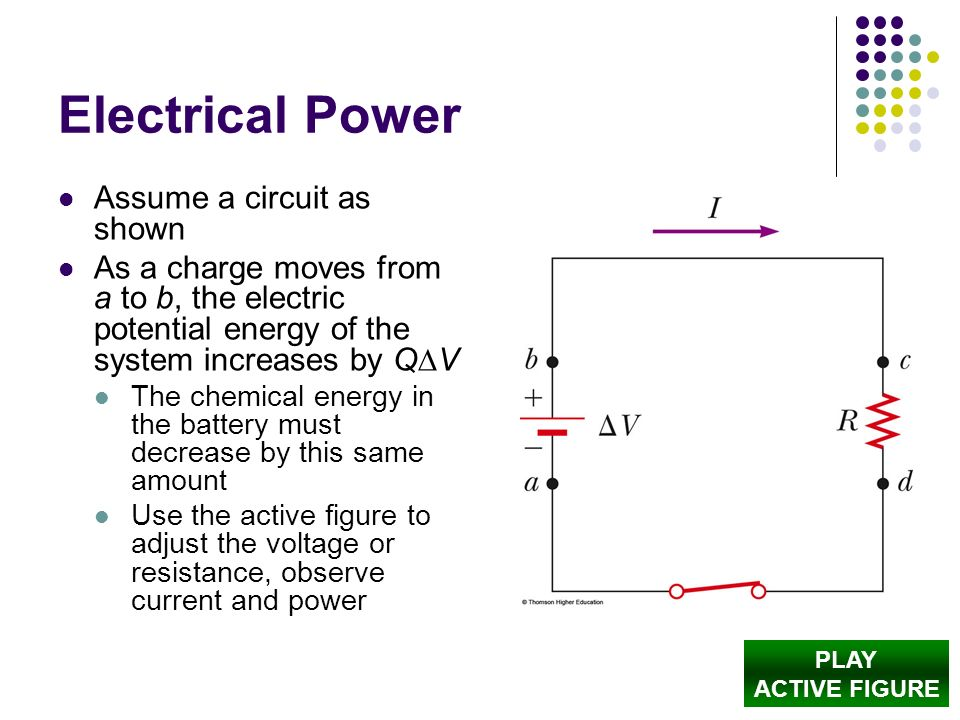 Electrical Power Assume a circuit as shown