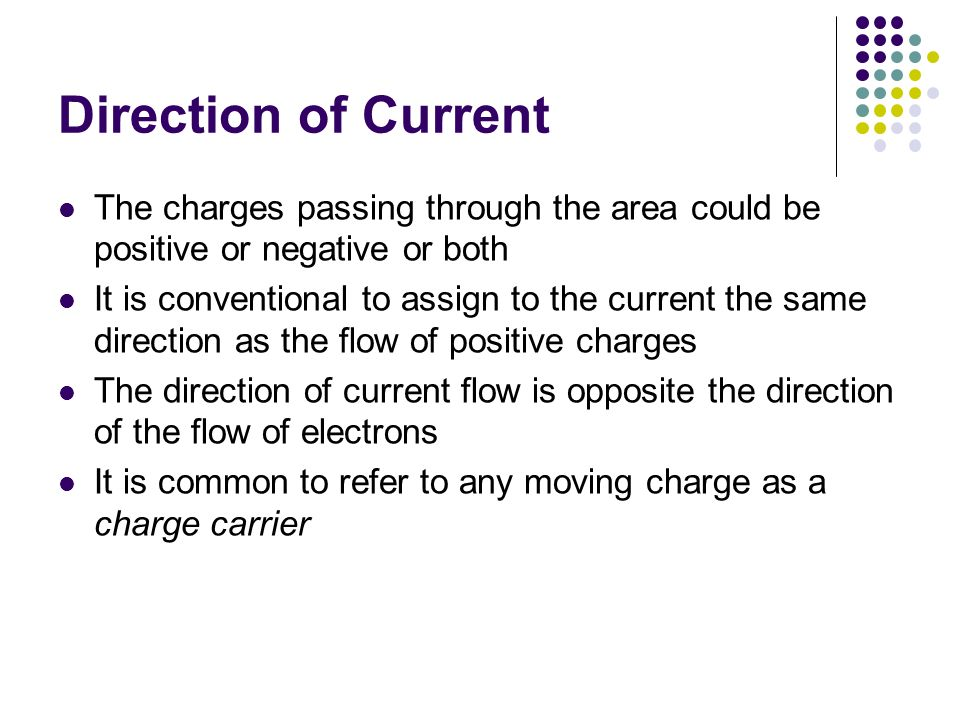 Direction of Current The charges passing through the area could be positive or negative or both.