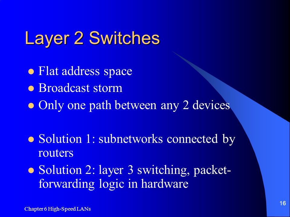 Layer 2 Switches Flat address space Broadcast storm