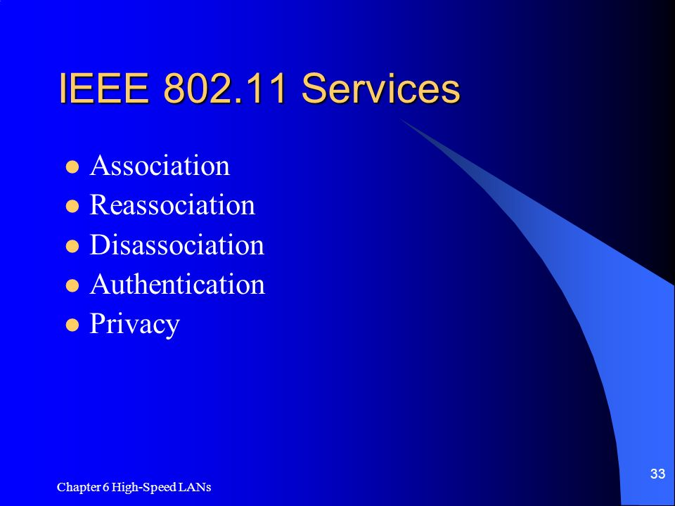 IEEE Services Association Reassociation Disassociation