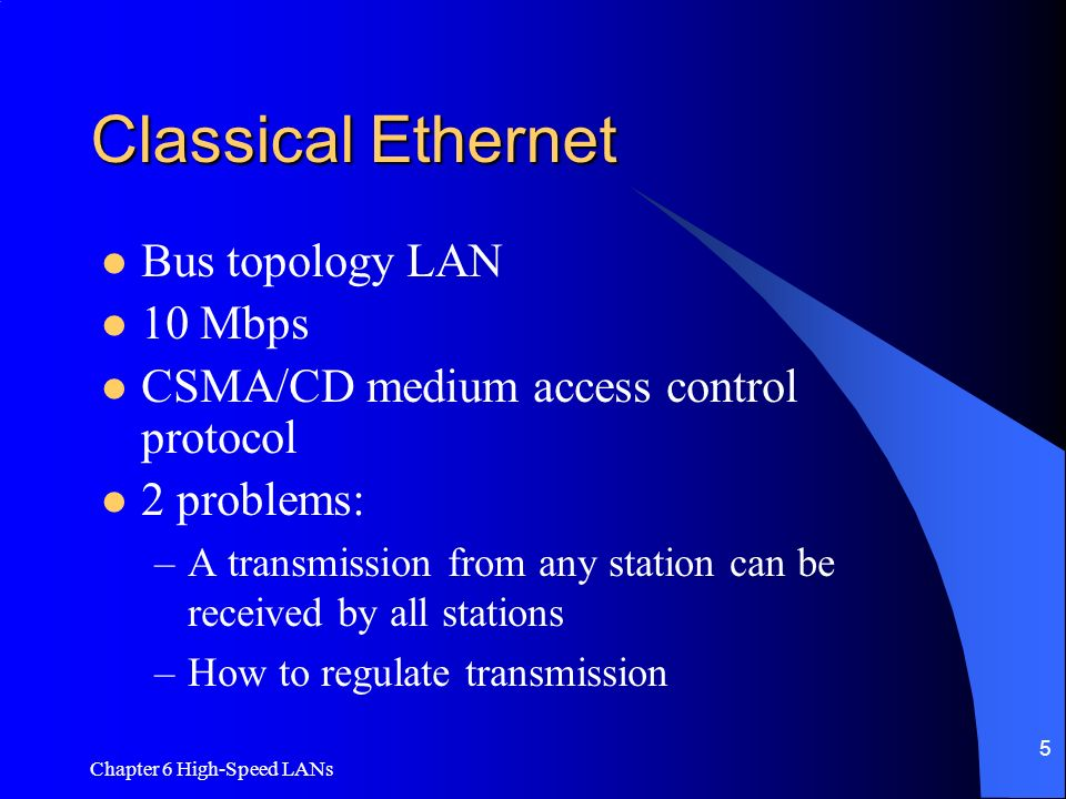 Classical Ethernet Bus topology LAN 10 Mbps