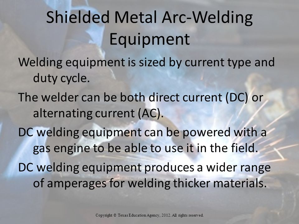 Shielded Metal Arc-Welding Equipment