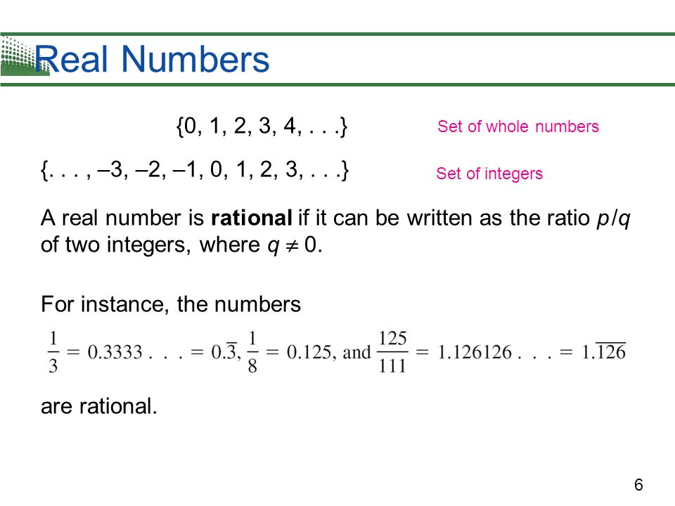 Real Numbers {0, 1, 2, 3, 4, . . .} {. . . , –3, –2, –1, 0, 1, 2, 3, . . .}
