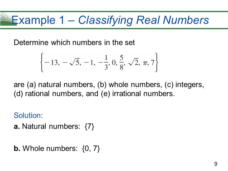 Example 1 – Classifying Real Numbers
