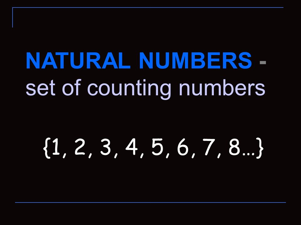 set of counting numbers
