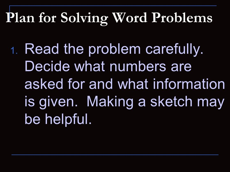 Plan for Solving Word Problems
