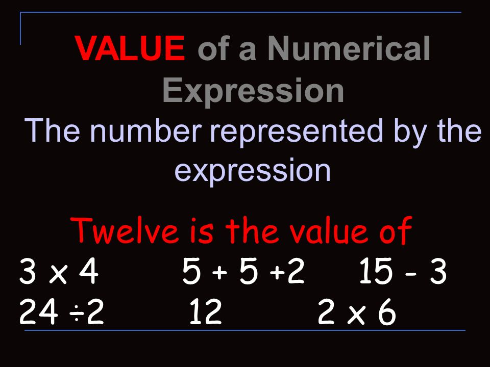 VALUE of a Numerical Expression