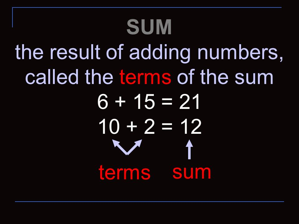 the result of adding numbers, called the terms of the sum