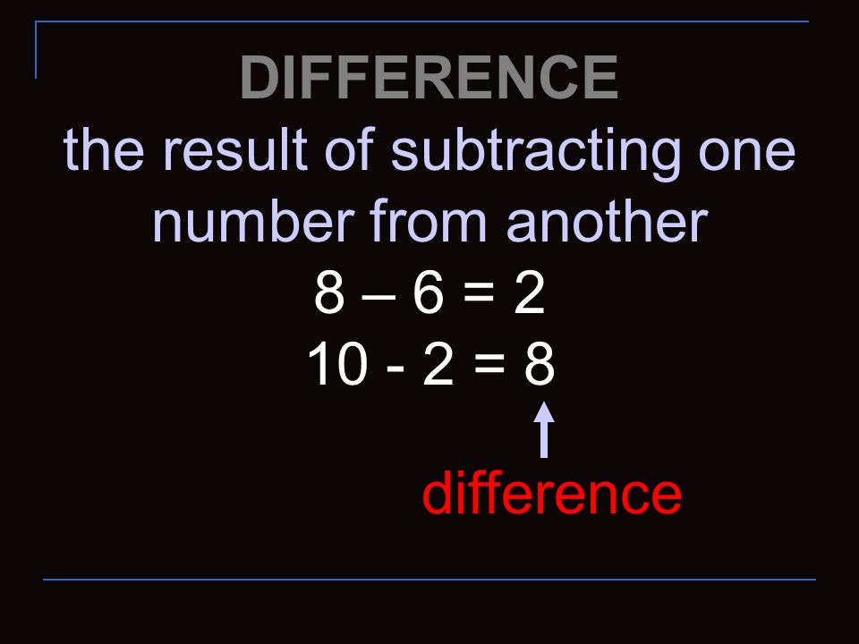 the result of subtracting one number from another