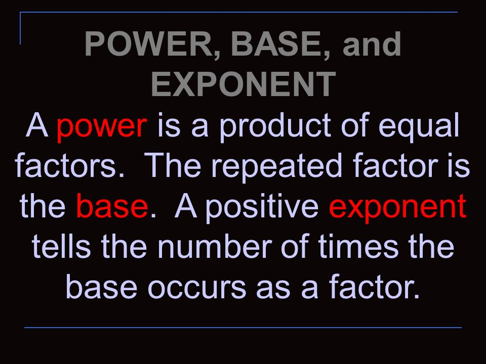 POWER, BASE, and EXPONENT