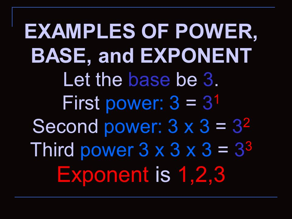 EXAMPLES OF POWER, BASE, and EXPONENT