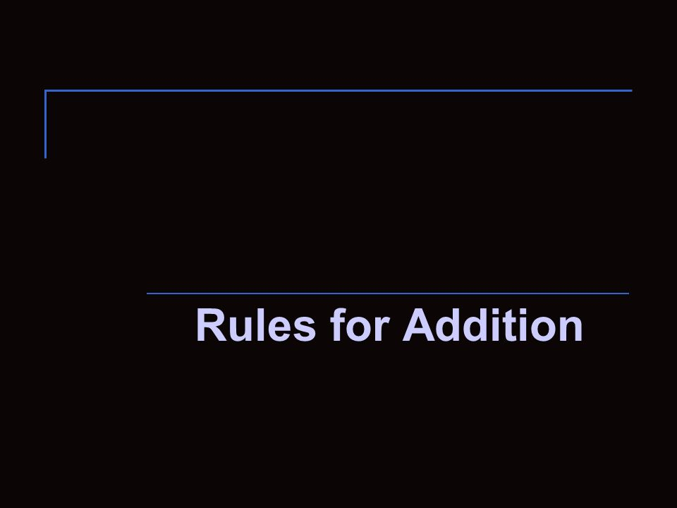 Rules for Addition