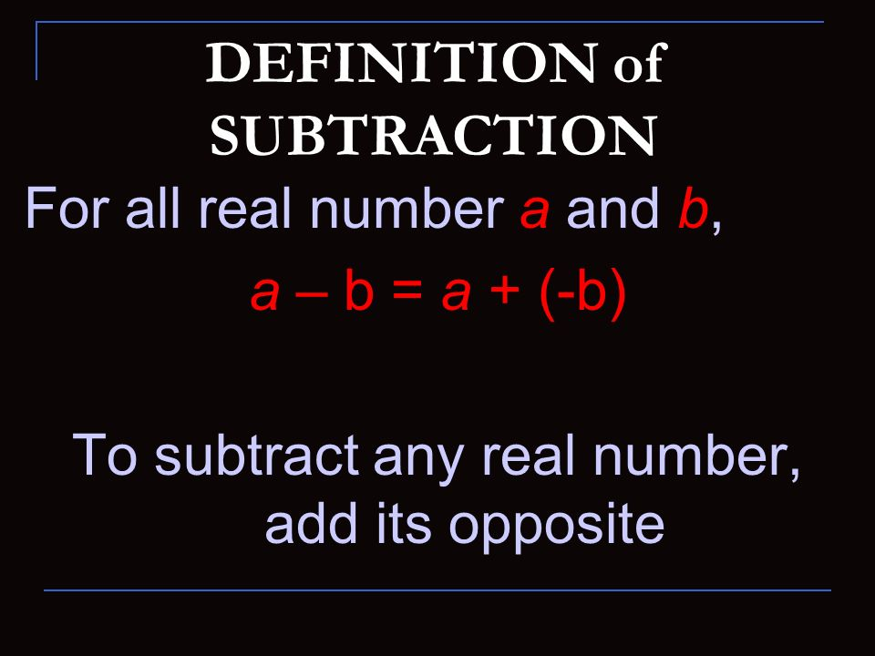 DEFINITION of SUBTRACTION