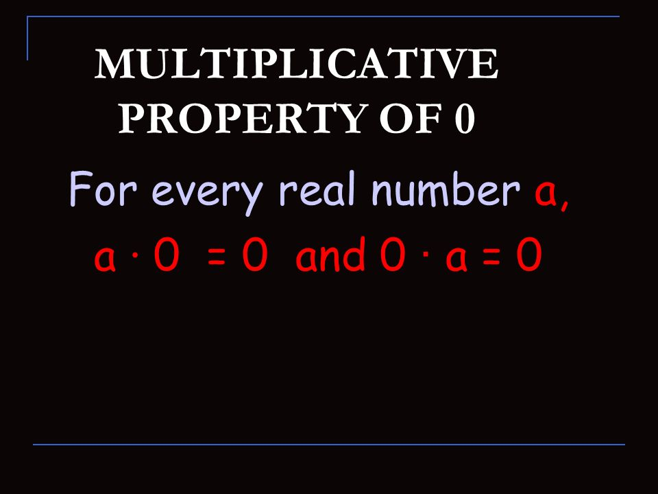 MULTIPLICATIVE PROPERTY OF 0