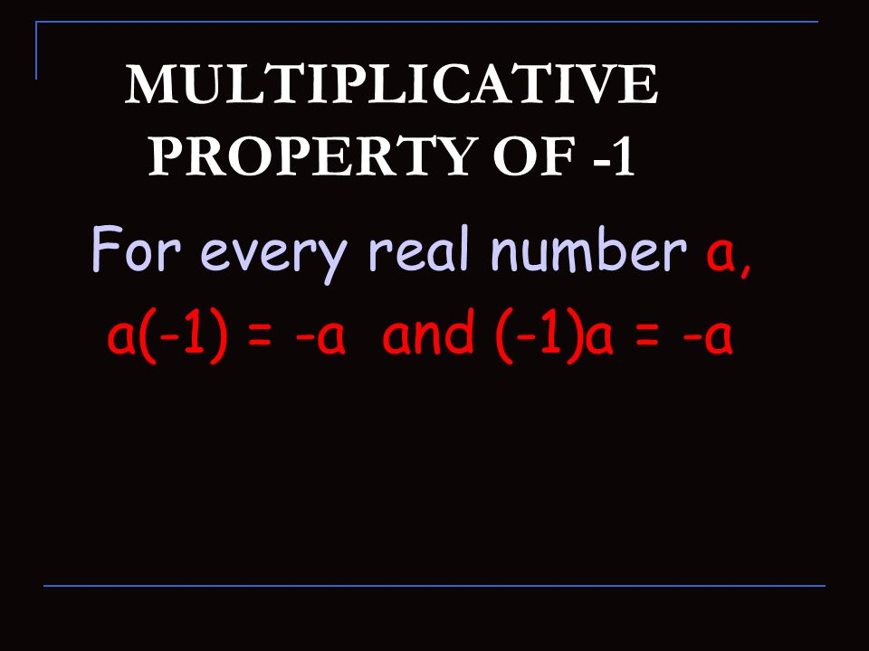 MULTIPLICATIVE PROPERTY OF -1
