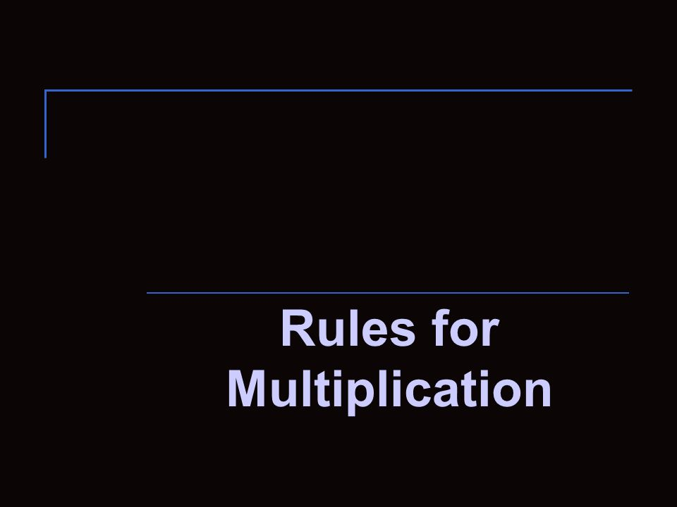 Rules for Multiplication