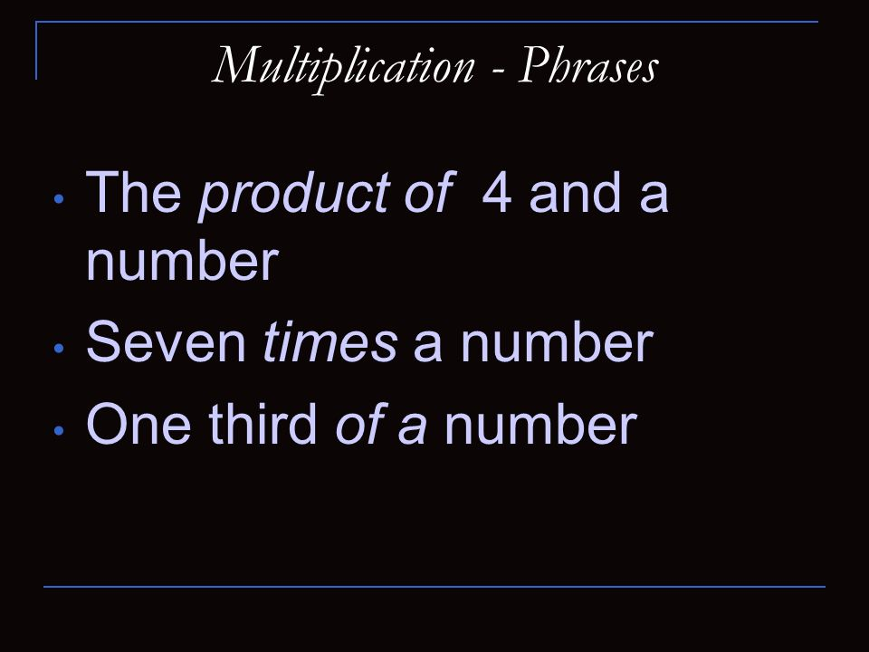 Multiplication - Phrases