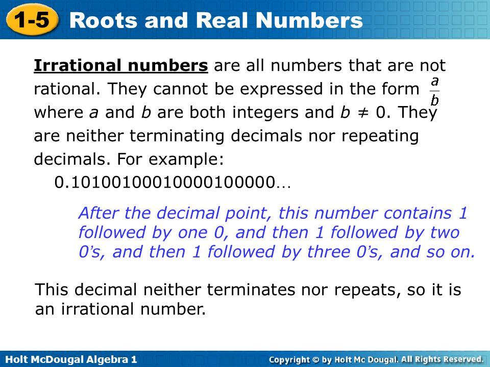 Irrational numbers are all numbers that are not rational
