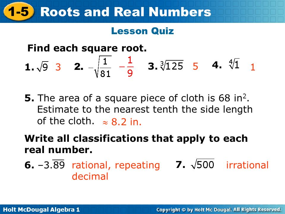 Lesson Quiz Find each square root