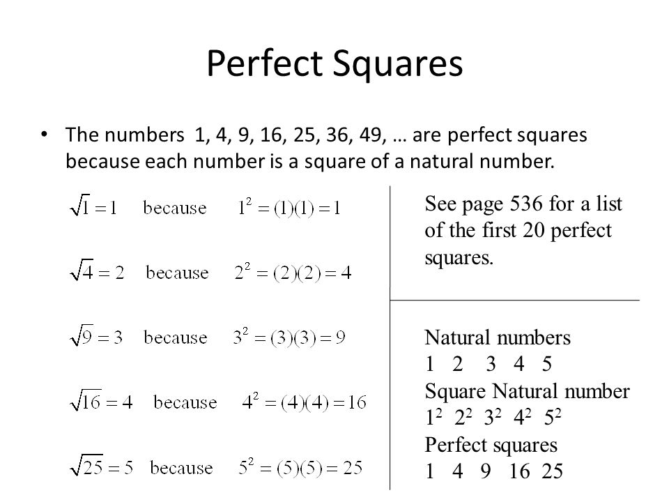 Perfect Squares The numbers 1, 4, 9, 16, 25, 36, 49, … are perfect squares because each number is a square of a natural number.