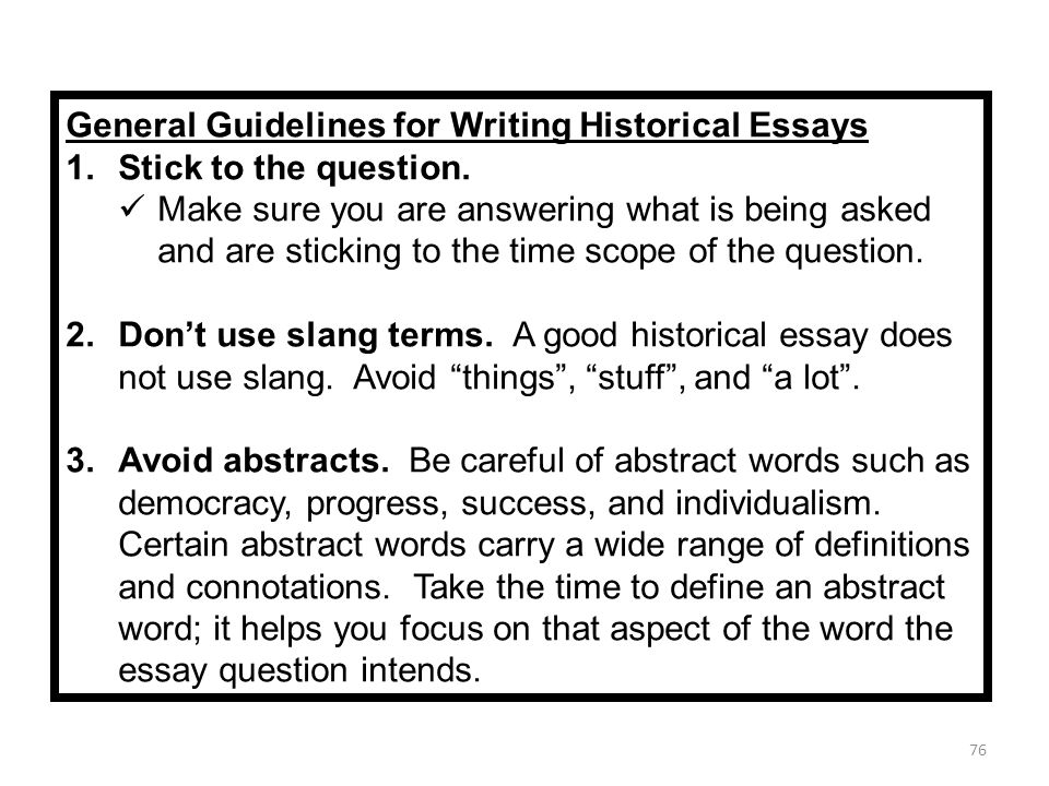 words to not use in an essay