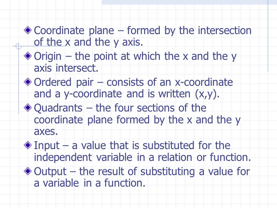 Coordinate plane – formed by the intersection of the x and the y axis.