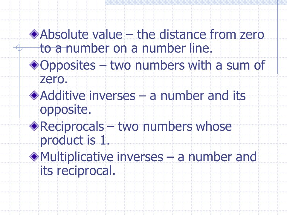 Absolute value – the distance from zero to a number on a number line.