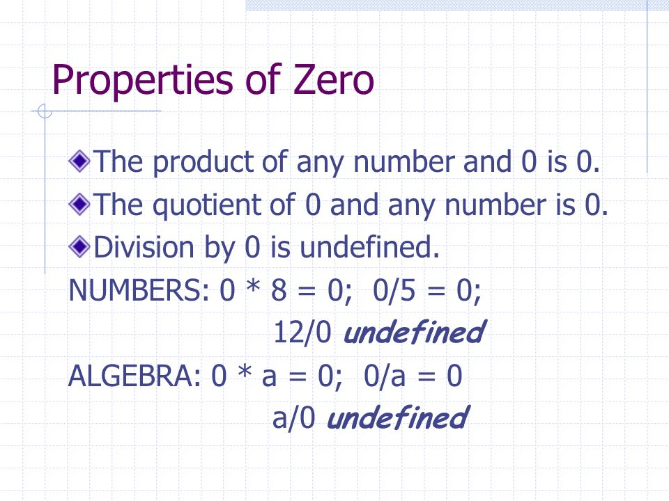 Properties of Zero The product of any number and 0 is 0.