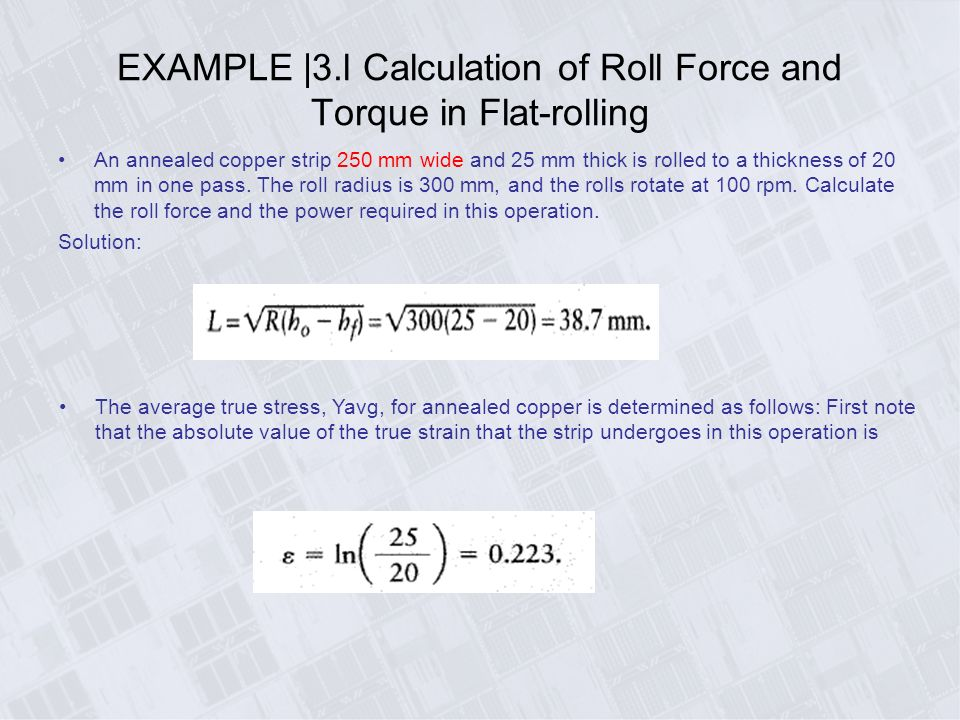 Roll Force Equation