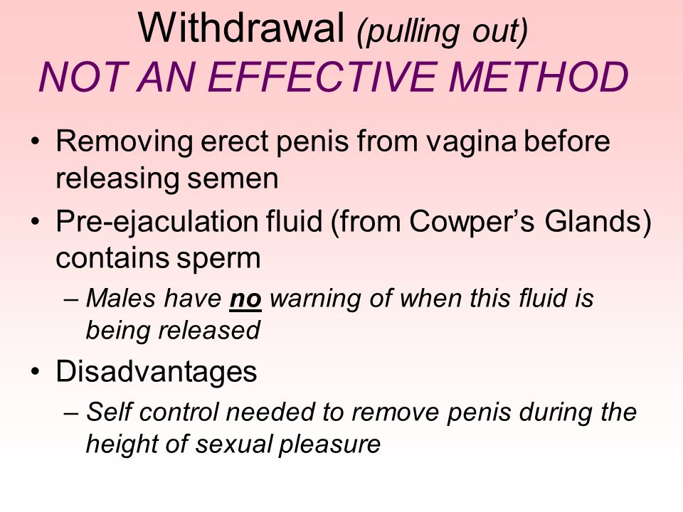 Withdrawal (pulling out) NOT AN EFFECTIVE METHOD