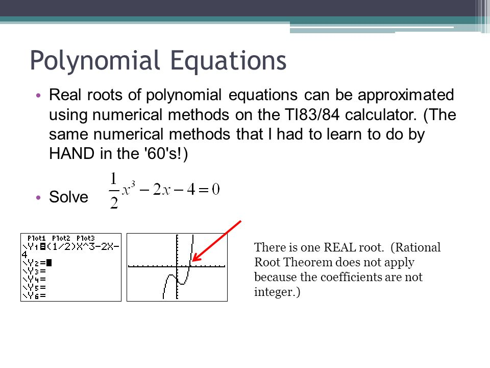 Solving Polynomial, and Exponential Equations and