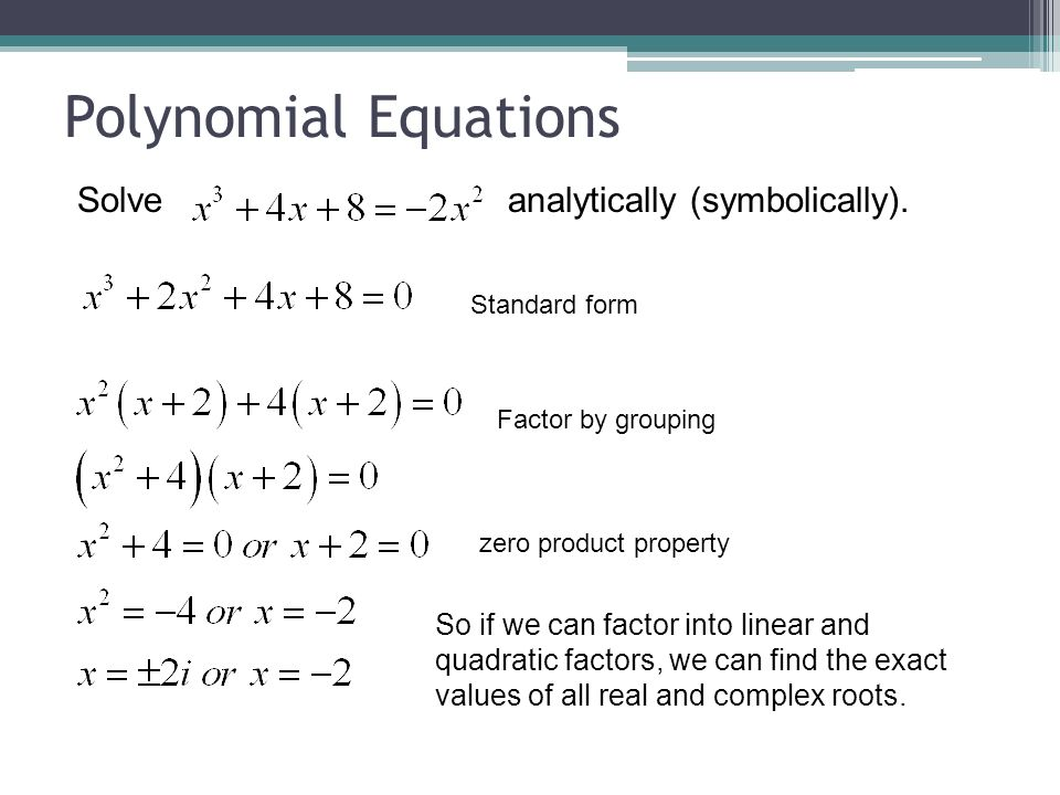 how to solve polynomial equations with exponents