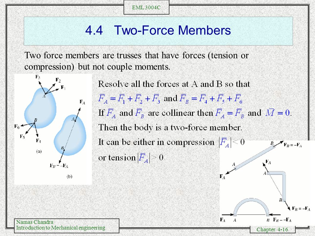 4.4 Two-Force Members Two force members are trusses that have forces (tension or compression) but not couple moments.