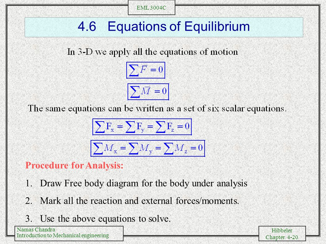 4.6 Equations of Equilibrium