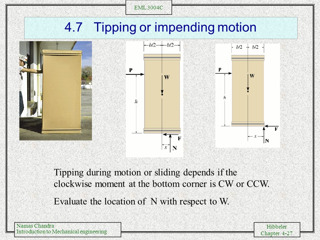 4.7 Tipping or impending motion