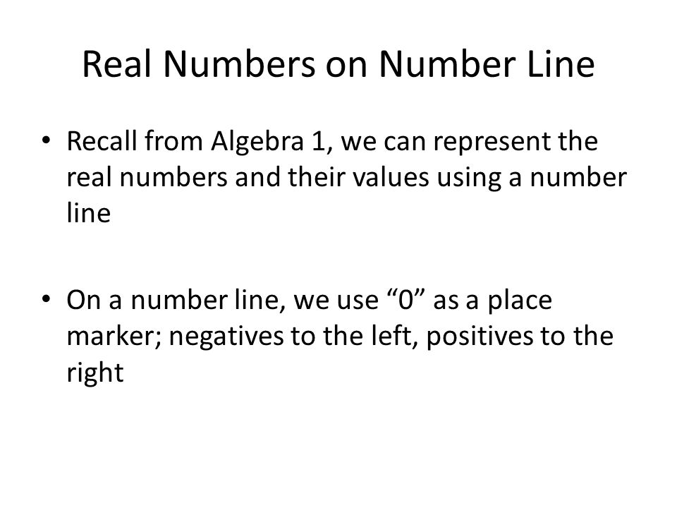 Real Numbers on Number Line