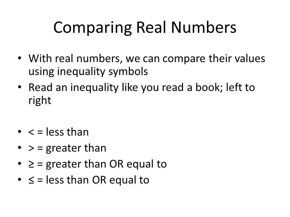 Comparing Real Numbers