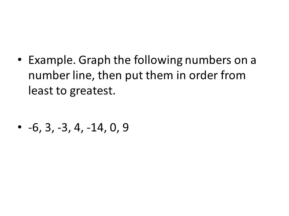 Example. Graph the following numbers on a number line, then put them in order from least to greatest.