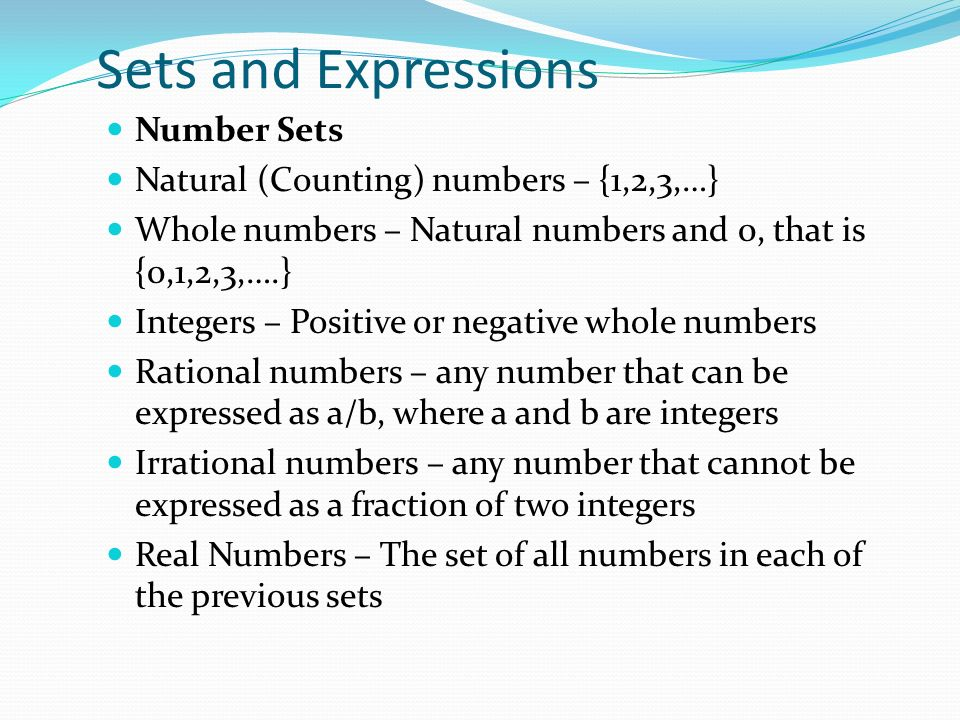 Sets and Expressions Number Sets