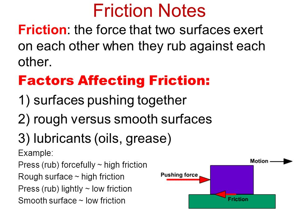 Friction Notes Friction: the force that two surfaces exert on each other when they rub against each other.