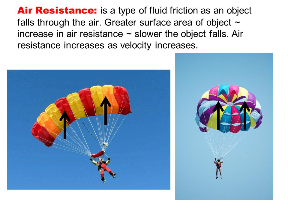 Air Resistance: is a type of fluid friction as an object falls through the air.